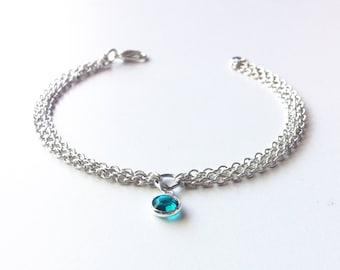 Blue Crystal Choker Necklace, Crystal Chain Bracelet, Anklet, Crystal Armlet