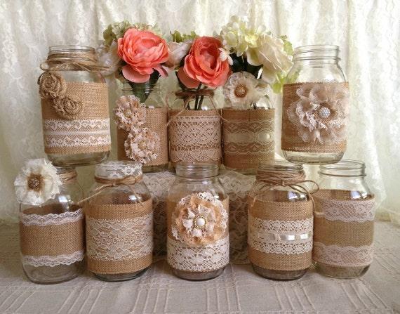 Mason Jar Party Decorations Amusing 10X Rustic Burlap And Lace Covered Mason Jar Vases Wedding Inspiration Design