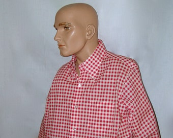 Mens Red Check Button-Down Collar Long Sleeve Shirt . vintage 1970s . Fashion Collection . cotton/polyester