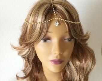 Gold rhinestone headchain, crystal drop, rhinestone head chain, gold head chain, bridal head chain, hair jewelry, hair chain gold adjustable