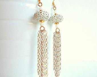 Gold Tassel Earrings, Drop earrings, Chain earrings, Dangle earrings, glam earrings, white and gold, beach earrings, arabesque earrings