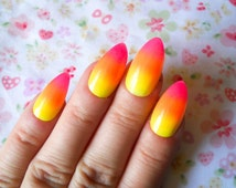 Neon / Glow in the Dark Stiletto Nails, Fake Nails, False Nails, Almond Nails, Acrylic Nails, Ombre, Gradient
