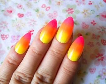 Glow in the Dark Ombre Stiletto Nails, Fake Nails, False Nails, Almond Nails, Acrylic Nails, Ombre, Gradient, Neon