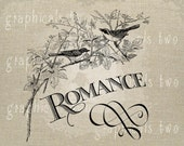 Birds Romance printable Instant digital download image transfer for graphics iron on Fabric Image for burlap pillow Decoupage No. gt243