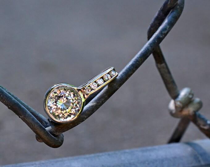 UPRISING SALE! Glamorous Danburite and Sapphire Ring in Sterlium Silver