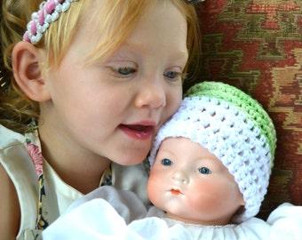 Key Lime Pie Crochet Baby Hat - Soft Natural 100% Cotton Yarn Boys Two Tone Sleeper Cap Crocheted Infant Beanie Nightcap Newborn Shower Gift