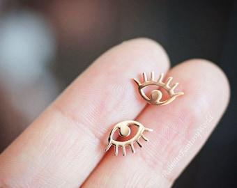 Evil Eye Earrings, Evil Eye, Rose Gold, Stud Earrings, Gift For Her, Surgical Stainless Steel, Titanium Earrings, Gold, Silver Earrings, Eye