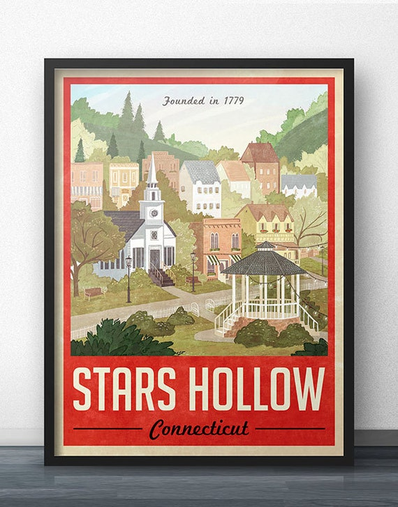 Stars hollow poster vintage travel poster by windowshopgal for Vintage sites like etsy