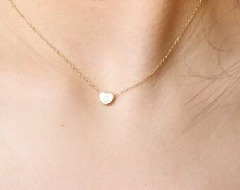 Tiny dainty initial heart necklace, initial necklace, delicate necklace, thin necklace, gold heart necklace, heart charm, minimalist