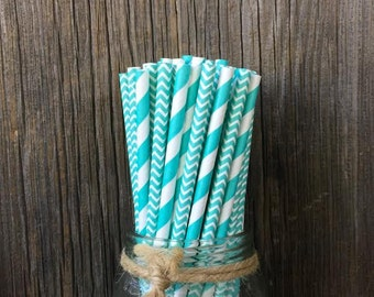 Aqua Paper Straws, Aqua Blue Straws, 100 Straws, Light Blue Straws, Shower Straws, Birthday, Wedding Supply, Paper Straws, Free Shipping