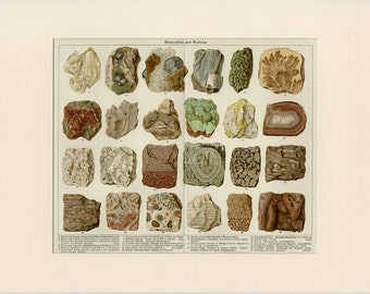 1890 Antique Matted Minerals & Rocks Print Geology Crystals Gems 12x16""