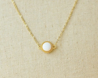 White Necklace, White Resin Disc Simple Necklace, Ivory Simple Necklace, Tiny White Necklace, Resin Jewelry For Her