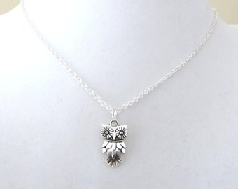 Owl Charm Necklace You Choose Necklace Length