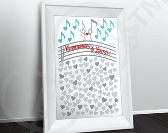 Music Themed Wedding Guestbook Poster, Personalized Guest book alternative, digital file