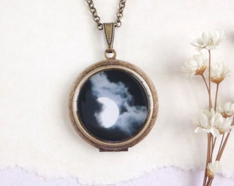 Full Moon Round Locket - Summer Moon in the Night Sky - Fine Art Photography Necklace