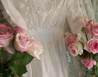 Antique Victorian Heirloom Sewn Wedding Dress circa 1890-1910 Museum Quality