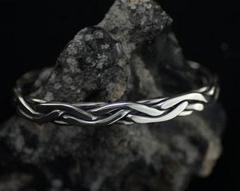 Unique Braided & Hammered Silver Cuff Bracelet