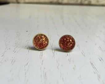 Sparkly Orange Stud Earrings. Titanium Hypoallergenic Studs. (#045)