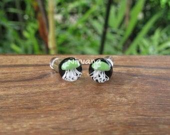 Jade Green Pyrex Glass Jellyfish Ball Style Plugs on Black Background 8g 6g 4g 2g 0g 00g  3 mm 4 mm 5 mm 6.5 mm 8 mm 10 mm 12 mm - 25 mm