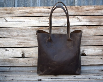 Large Brown Leather Tote Bag  /  Hand stitched leather Bag / Laptop Tote / Unisex / Made To Order /Everyday Leather Tote