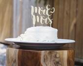 Mr. & Mrs. Gold Metallic Wedding Cake Topper