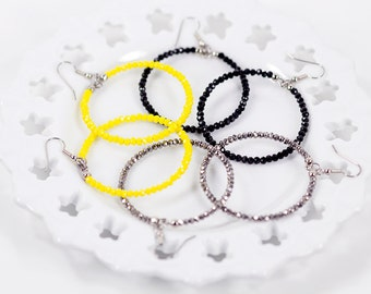 Large Beaded Hoop Earrings Black Silver Yellow Fashion Jewelry