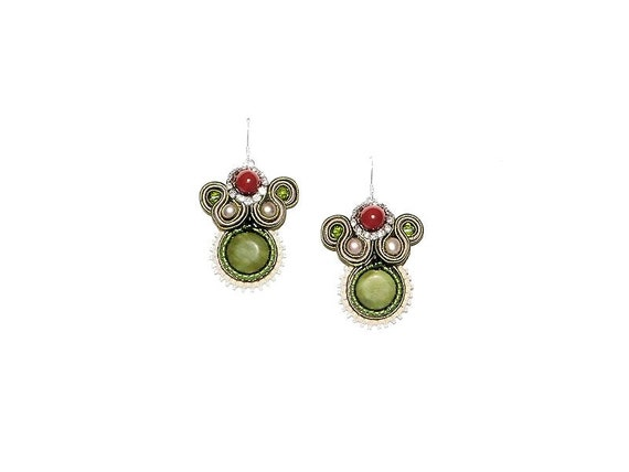 Soutache Drop Earrings with Serpentine, Red Agate and Freshwater Pearl. Red Green Bridesmaid Dangle Earrings