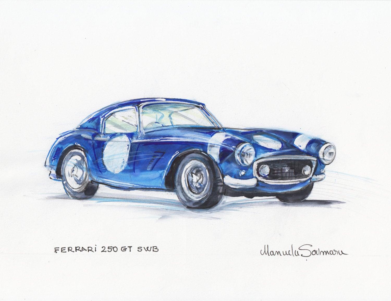 Classic car illustration ferrari 250 gt swb vintage car zoom amipublicfo Images