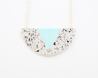 Textured clay necklace Handmade geometric pendant Clay jewelry Minimalist jewellery Anniversary gift