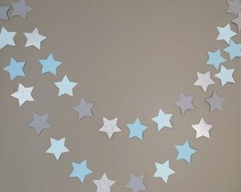 Twinkle Twinkle Little Star paper Garland, Blue, Gray and Silver Glitter Garland,Star Garland,First Birthday,Baby Boy Baby Shower,Cake Smash
