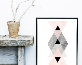 Scandinavian Art,  Printable Art, Triangle Print, Modern Art, Wall Decor, Wall Art, Digital Download, Poster, Pink and Grey