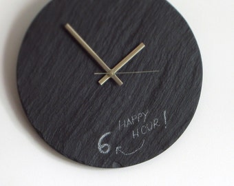 Black WALL CLOCK> DIY Personalized Salvaged Slate Clock & Chalk—Fathers Day Gift Wedding Registry Housewarming—Horloge Ardoise/Reloj Pizarra