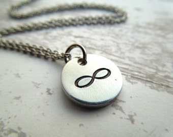 Infinity necklace, hand stamped aluminum