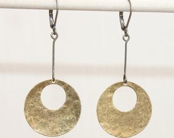 Brass Earrings Hammered Metal Earrings Raw Brass Hoop Dangle Boho Earrings Bohemian Jewelry Gift Ideas