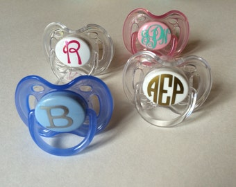 Personalized monogrammed Avent brand pacifier, makes a great baby gift