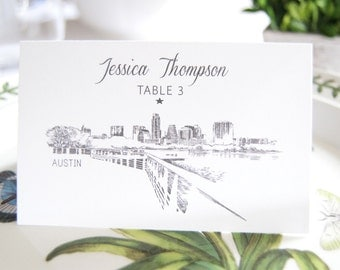 Austin Skyline Folded Place Cards (Set of 25 Cards)