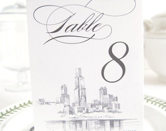 Chicago Skyline Table Numbers (1-10)