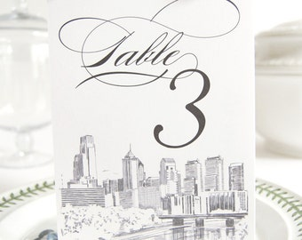 Philadelphia Skyline Table Numbers (1-10)