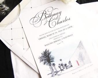 The Parker Palm Springs Destination Wedding Skyline Hand Drawn Rehearsal Dinner Invitations (set of 25 cards)
