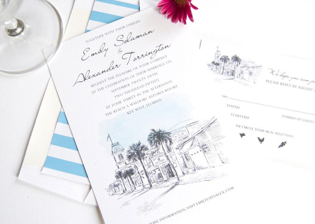 Key Themed Wedding Invitations: Key West Destination Wedding Invitation Package Sold In Sets