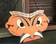 1950's Cardboard Mini Halloween Mask - Vintage Trick Or Treat Collectible by E. Rosen Co.
