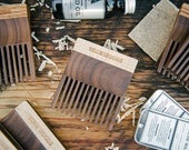 BEARD COMB: Handcrafted Fine Tooth Beard Comb (Walnut and Curly Maple Wood) - Moustache and Beard Care Made in Canada