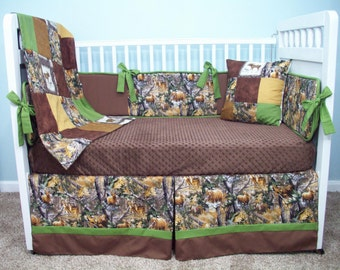Custom Crib Bedding Set, Custom Baby Bedding Set, Camo Crib Bedding, Camo Baby Bedding, Camouflage