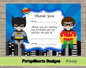 DIY - FILL IN Yourself Thank You Card/Invite Superhero Batman and Robin