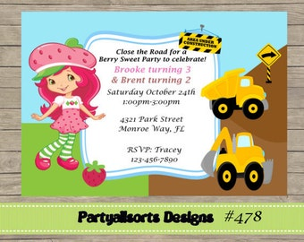 DIY - Strawberry Shortcake and Construction Party Invitations