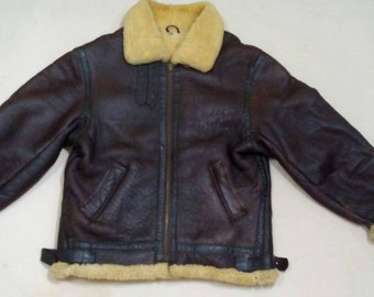 Vtg B-3 sheepskin shearling crew bomber brown  leather flight jacket.