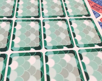 Green Scale Planner Box Stickers