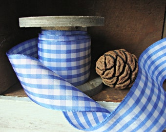 Blue and White Gingham Check Ribbon