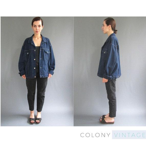 90s Oversized GAP Dark Wash Denim Jacket XL Womens Vintage