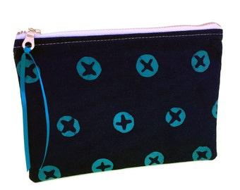 Aqua pouch, pretty pouches, xoxo, circle print, aqua and navy, holiday gift, pencil pouch, handmade pouch, zipper purse, makeup organizer